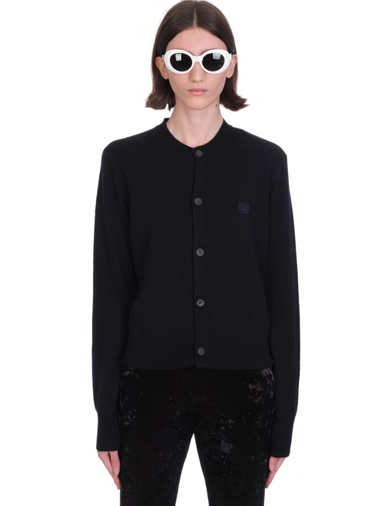Acne Studios Keva Face Cardigan In Black Wool - black