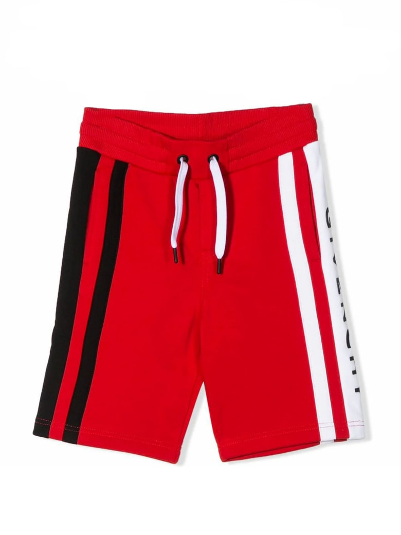 Givenchy Red Cotton Blend Shorts - Rosso
