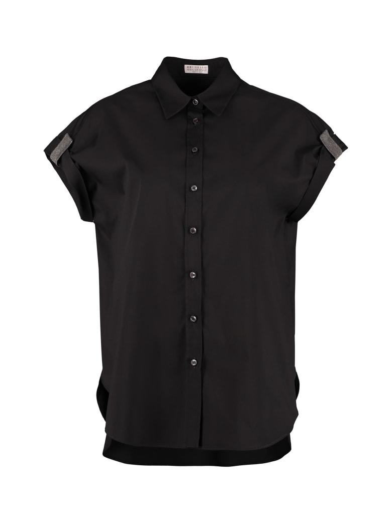 Brunello Cucinelli Cotton Blend Short Sleeves Shirt - black