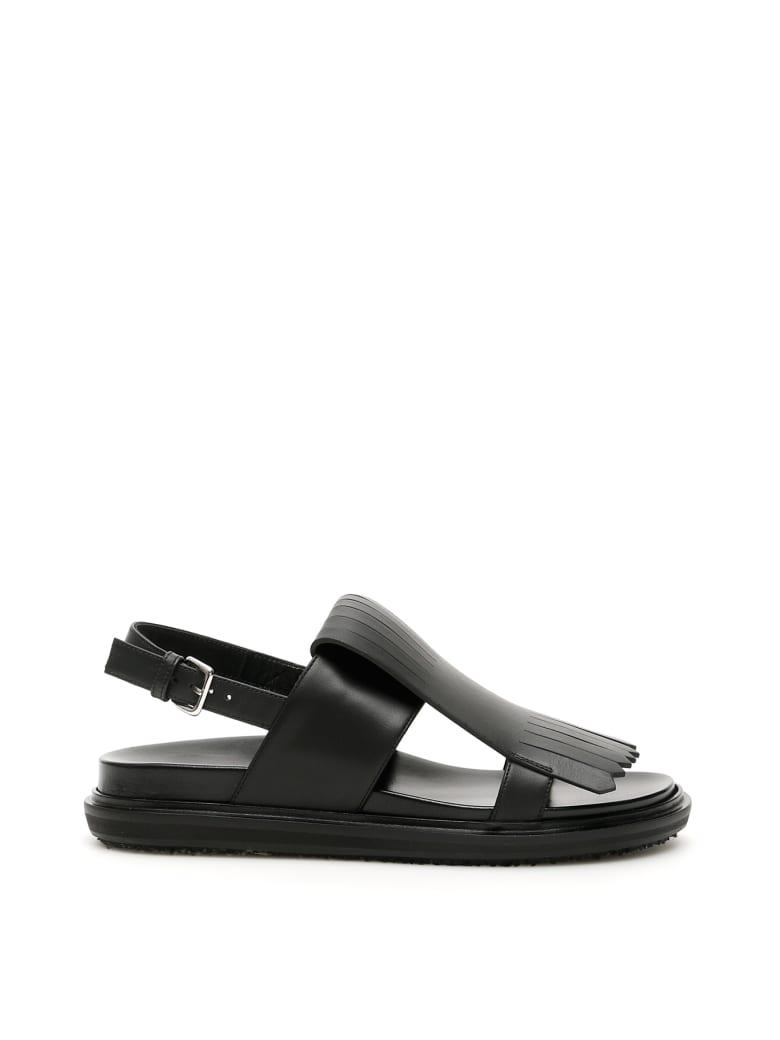 Marni Fringed Fussbett Sandals - BLACK (Black)