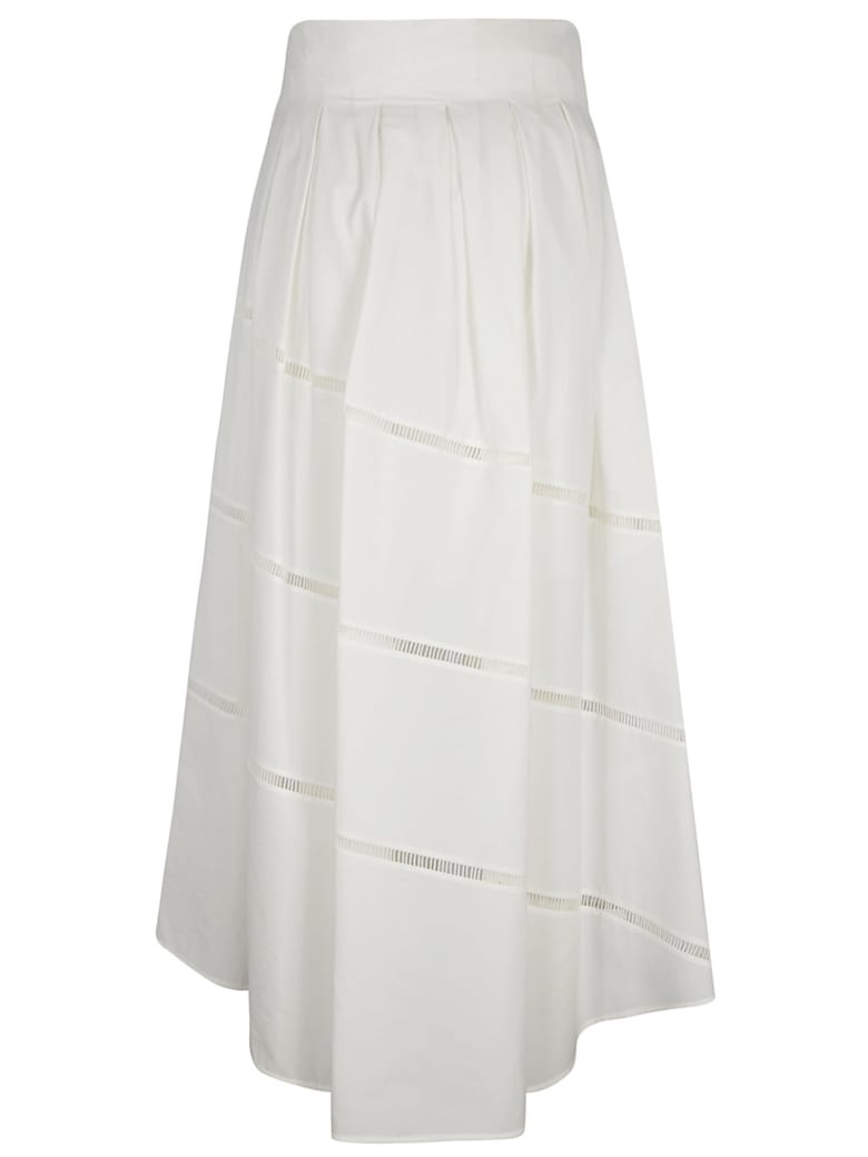 Brunello Cucinelli Perforated Asymmetric Skirt - Bianco