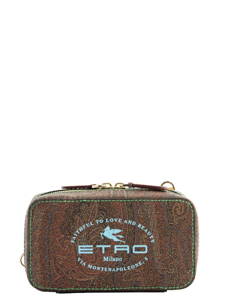 Etro Paisley Clutch Bag With Logo - Bridle Brown
