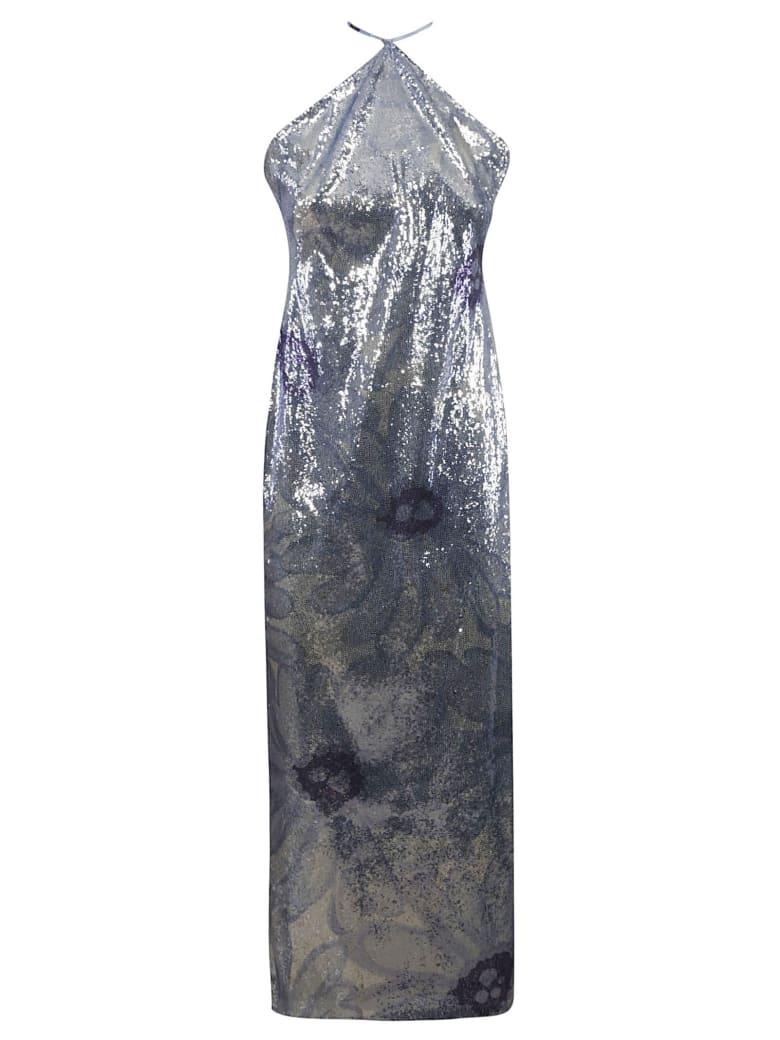 Jacquemus Floral Detail Sequined Dress - Light Blue