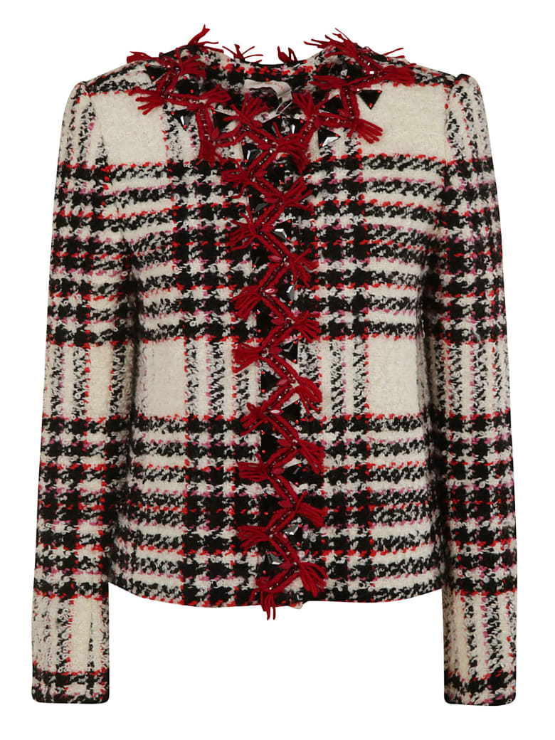 Tory Burch Embroidered Tweed Jacket - multicolored