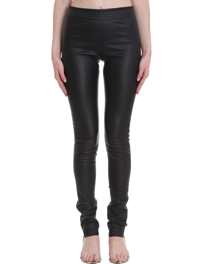 DROMe Pants In Black Leather - black