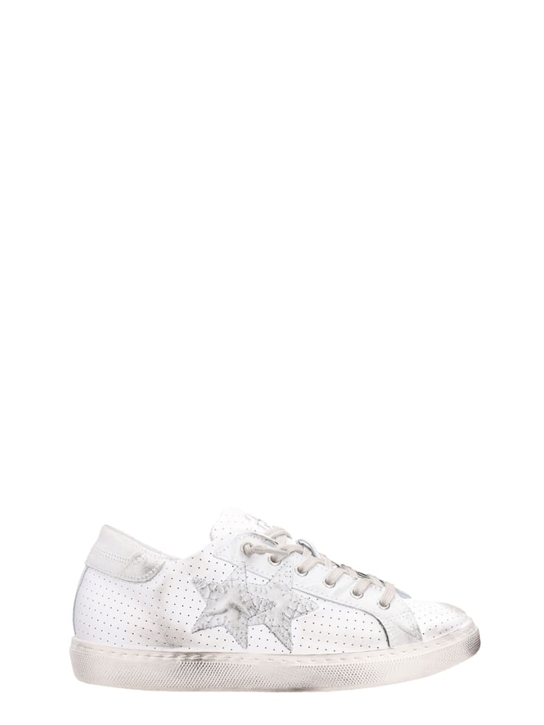 2Star White Leather Sneakers - white