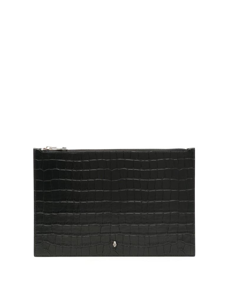 Alexander McQueen Croc-print Pouch - BLACK (Black)