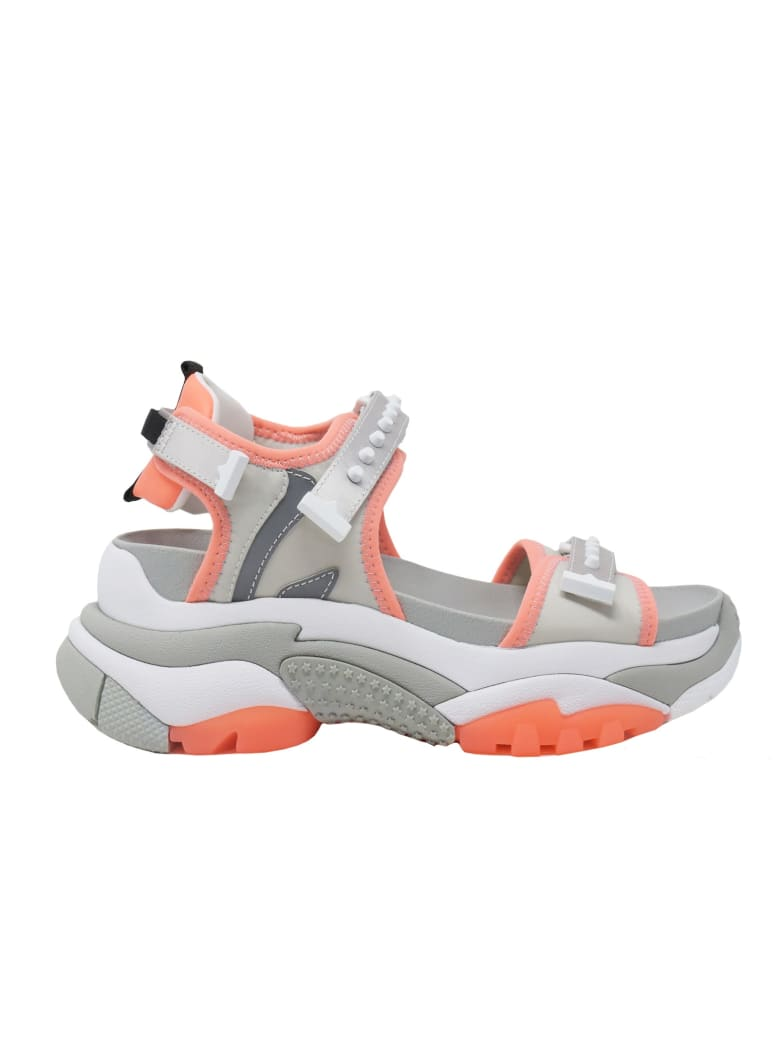 Ash Grey And Orange Sandals - MULTICOLOR