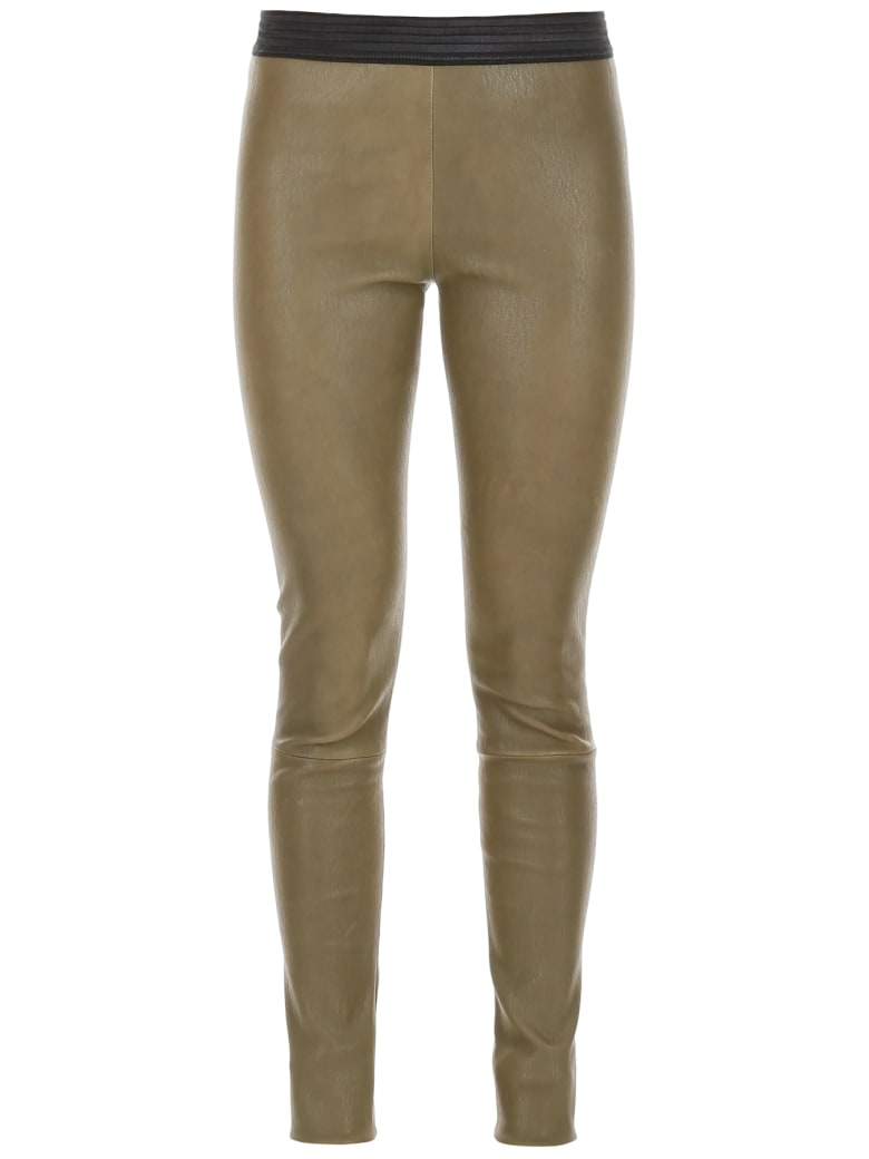 DROMe Leather Leggings - SAGE GREEN (Green)