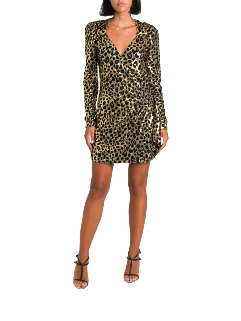In The Mood For Love Sequined Leopard Wrap-dress - Beige