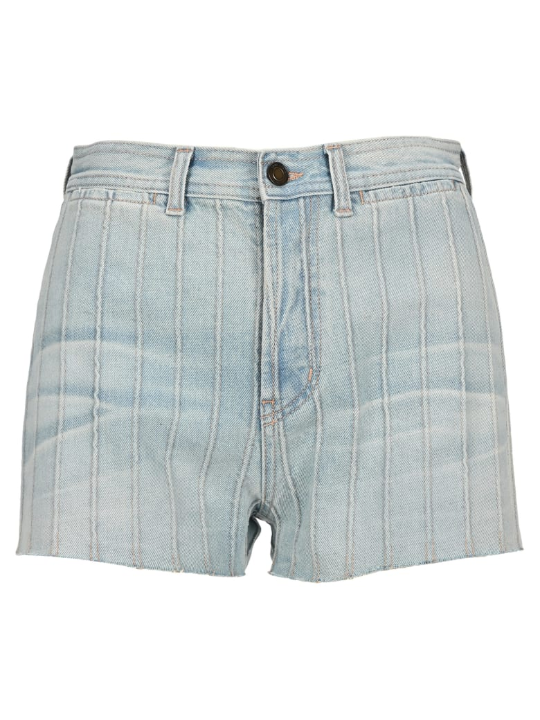 Saint Laurent High Waist Denim Shorts - Rio blue