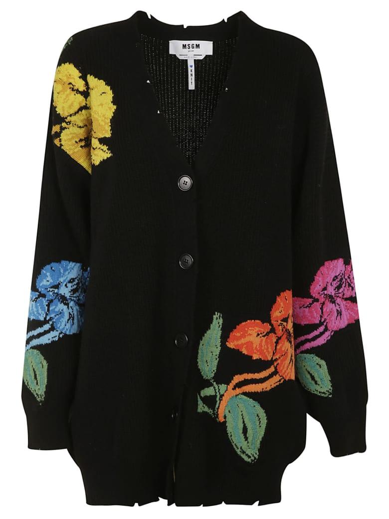 MSGM Woven Floral Cardigan - Black