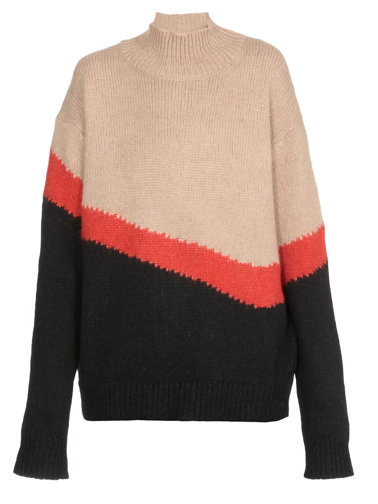 Neil Barrett Multicolor Oversize Sweater - CAMEL/RED/BLACK