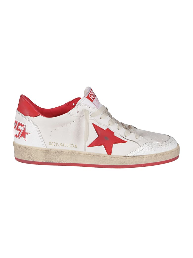 Golden Goose White And Red Leather Ballstar Sneakers - White red