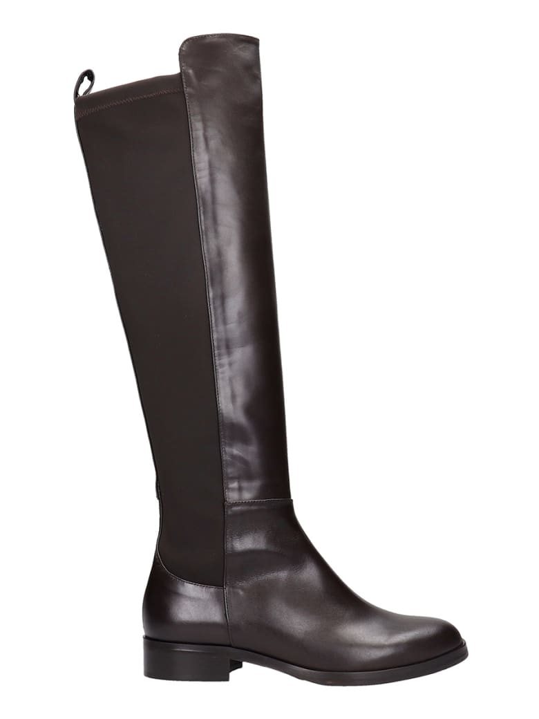 Fabio Rusconi Low Heels Boots In Brown Leather - brown