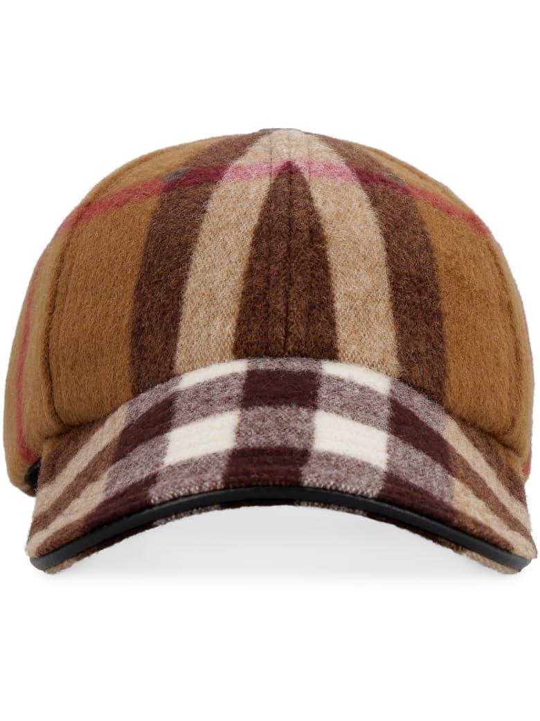 Burberry Check Motif Wool Baseball Cap - brown