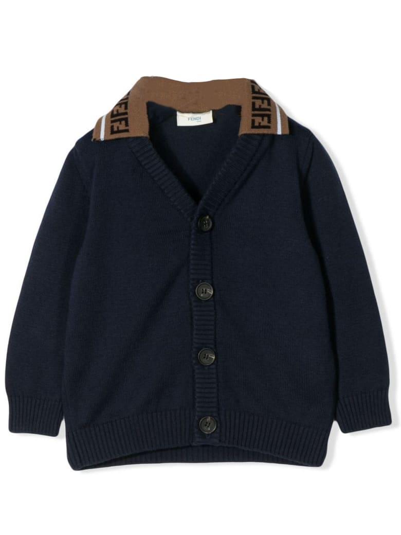 Fendi Navy Blue Cotton Cardigan - Blu