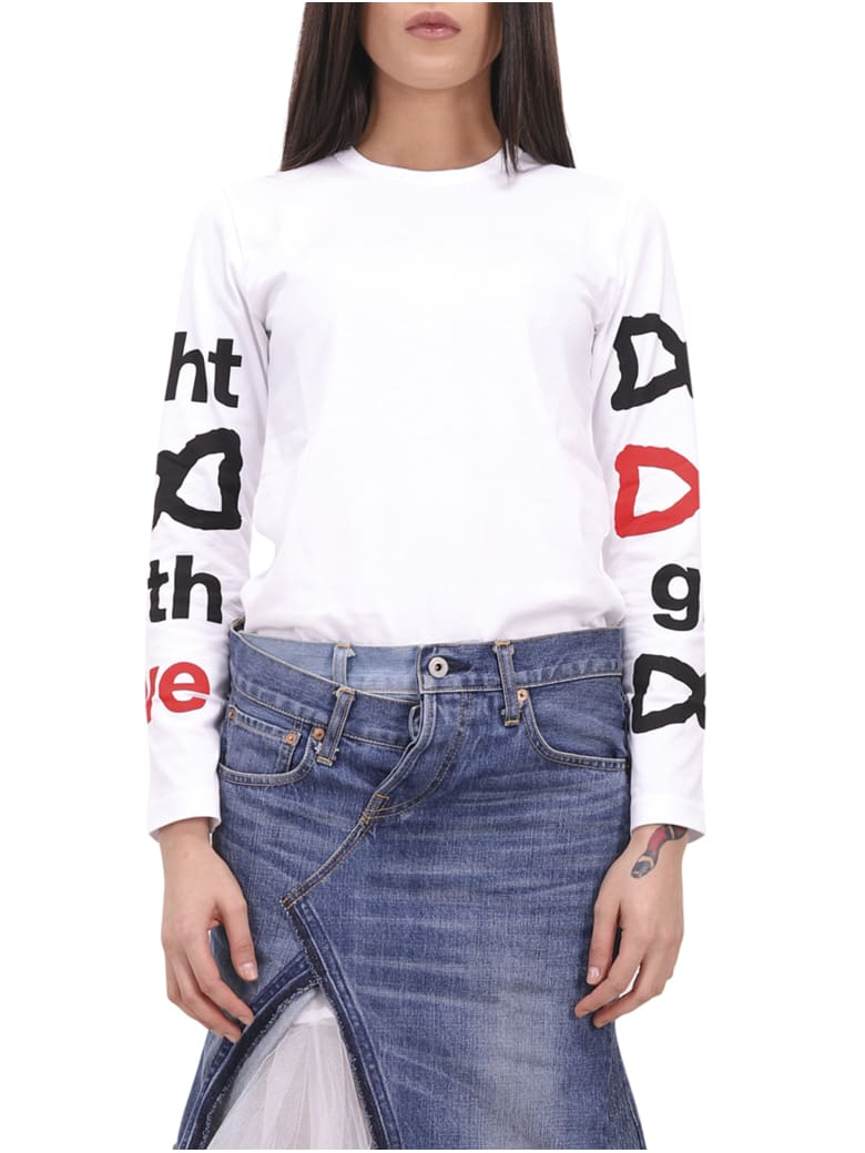 Comme Des Garçons Girl Fight With Love T-shirt - White