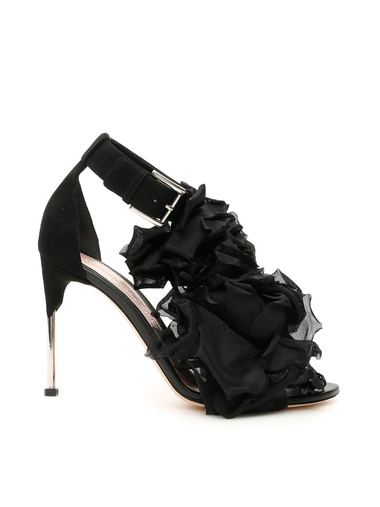 Alexander McQueen Roses Sandals - BLACK SILVER (Black)