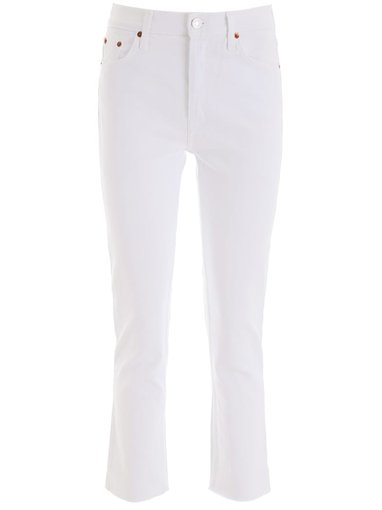 RE/DONE High Rise Ankle Cropped Jeans - WHITE (White)