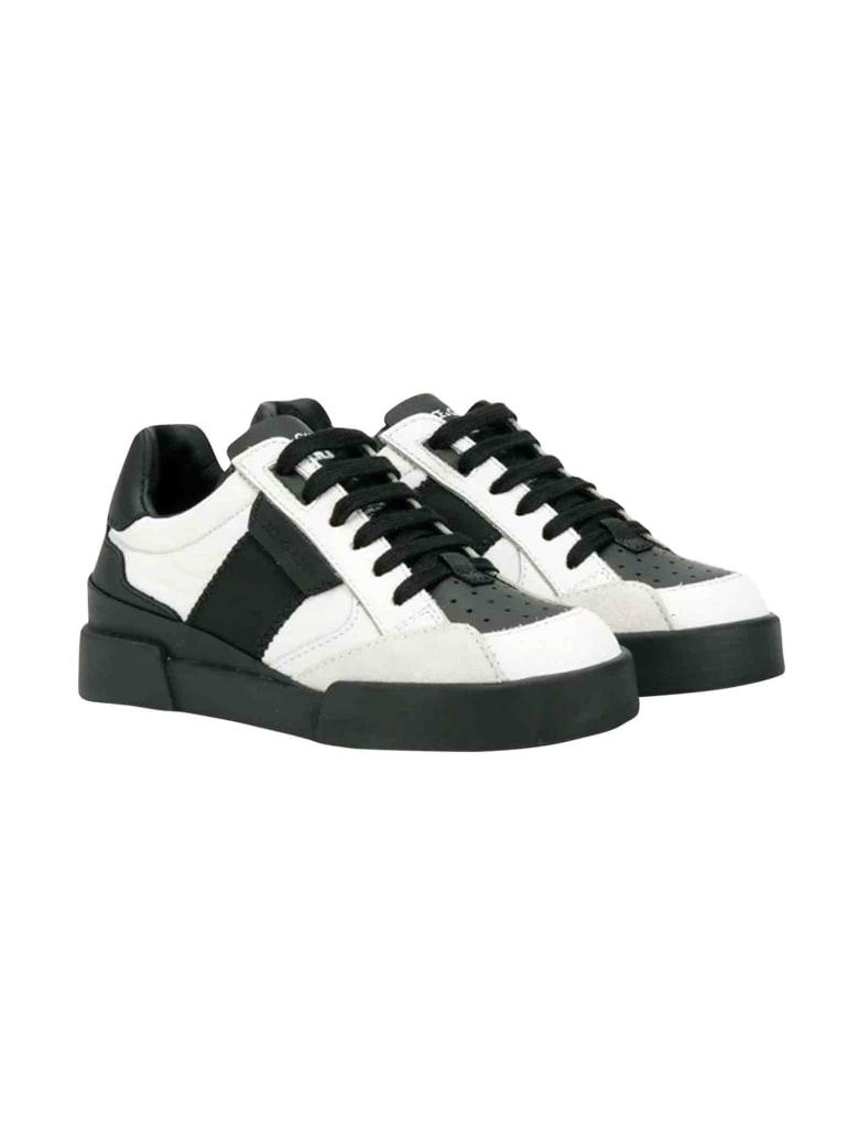 Dolce & Gabbana Black And White Dolce And Gabbana Kids Sneakers - Bianco/nero