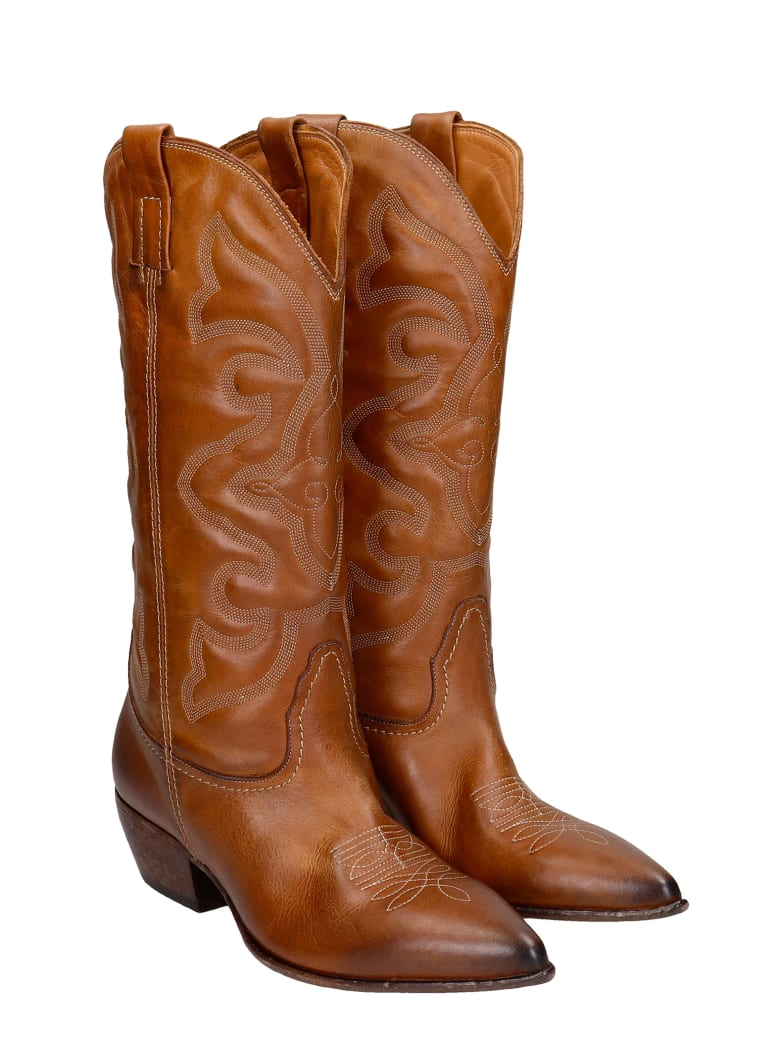 Elena Iachi Texan Boots In Leather Color Leather - leather color