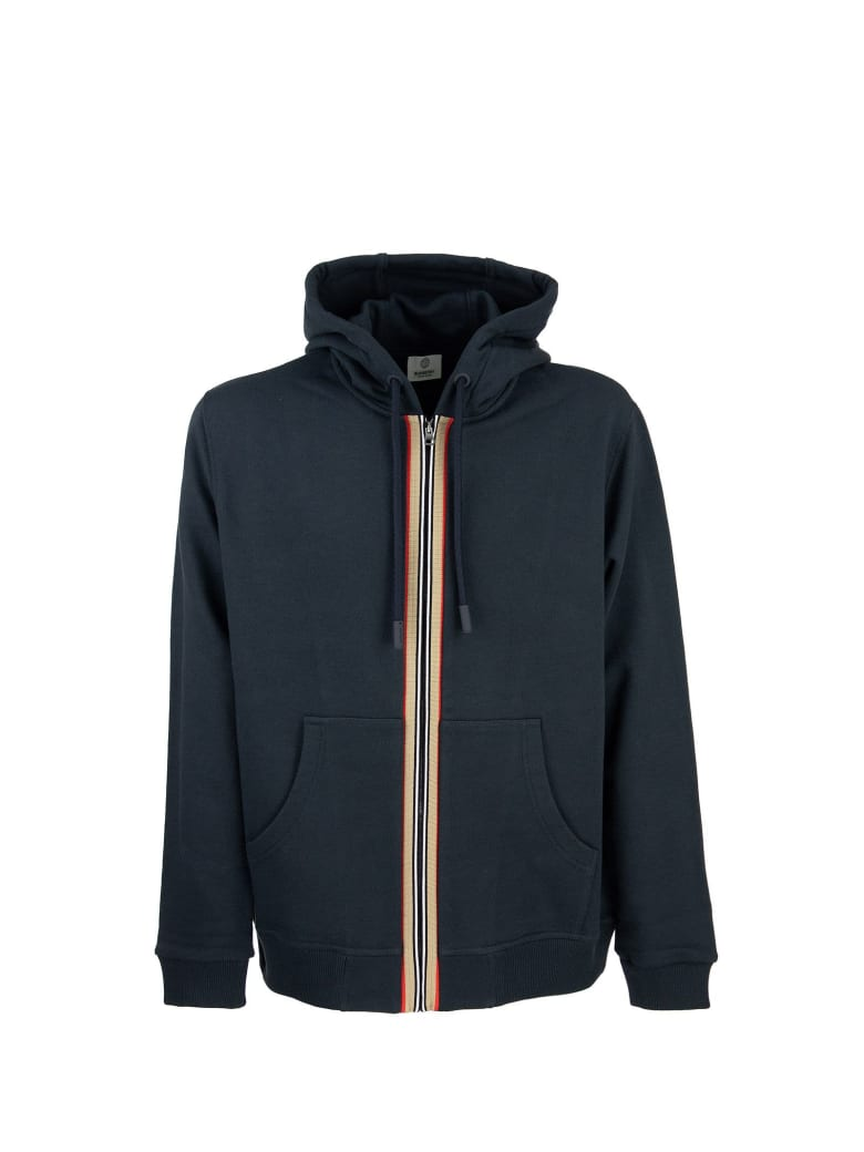 Burberry Lexington - Cotton Sweatshirt With Hood And Iconic Striped Detail - Navy
