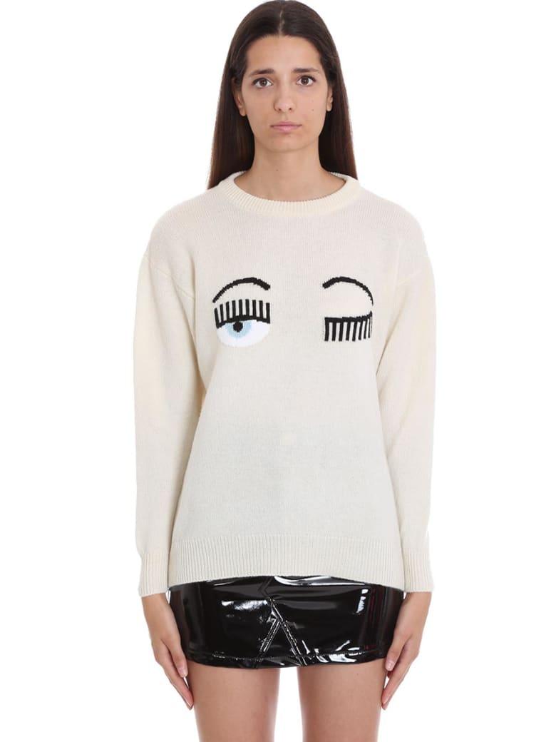 Chiara Ferragni Over Flirting Eye Beige  Wool Sweater - beige