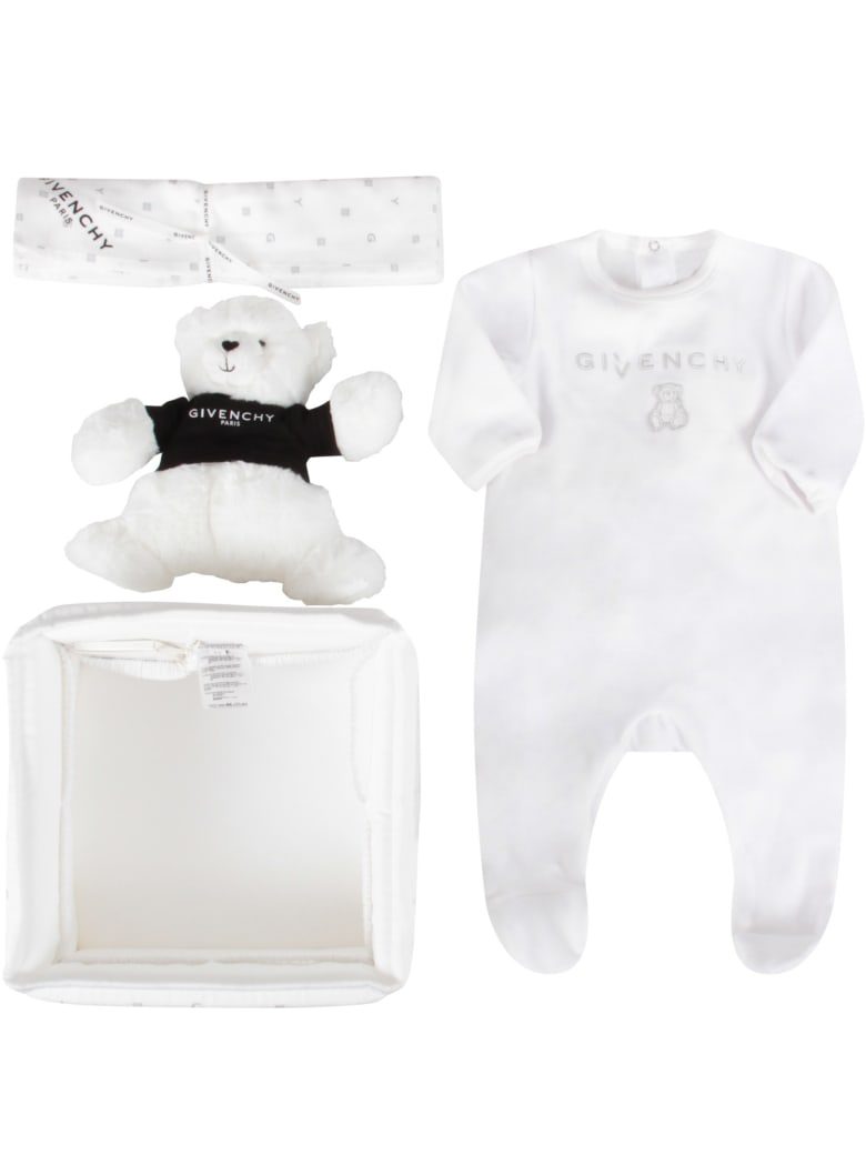 Givenchy White Set For Babykids With Bear - Bianco