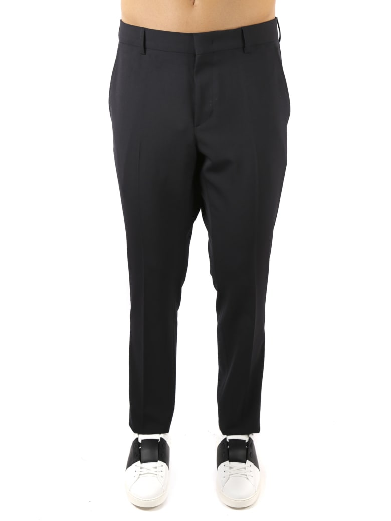Valentino Black Wool Blend Trousers - Navy