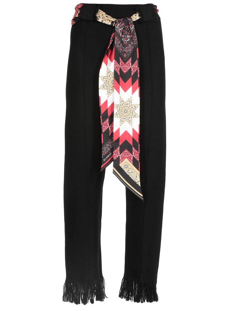 Alanui Knit Flared Wool Pants - EMBASSY BLACK