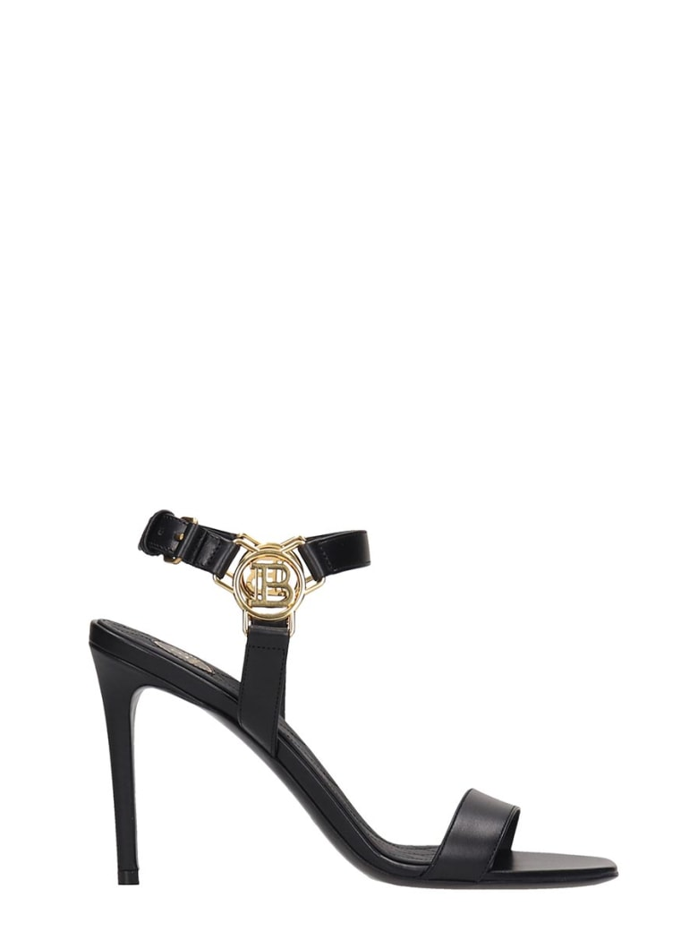 Balmain Sandals In Black Leather - Nero