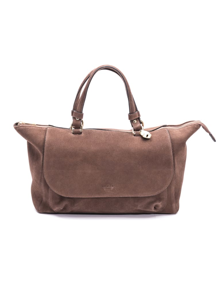 Avenue 67 Simo Leather Top Handle Bag - DARK BROWN