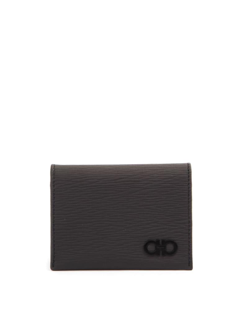 Salvatore Ferragamo Dark Grey Gancini Wallet In Texture Leather - Dark gray