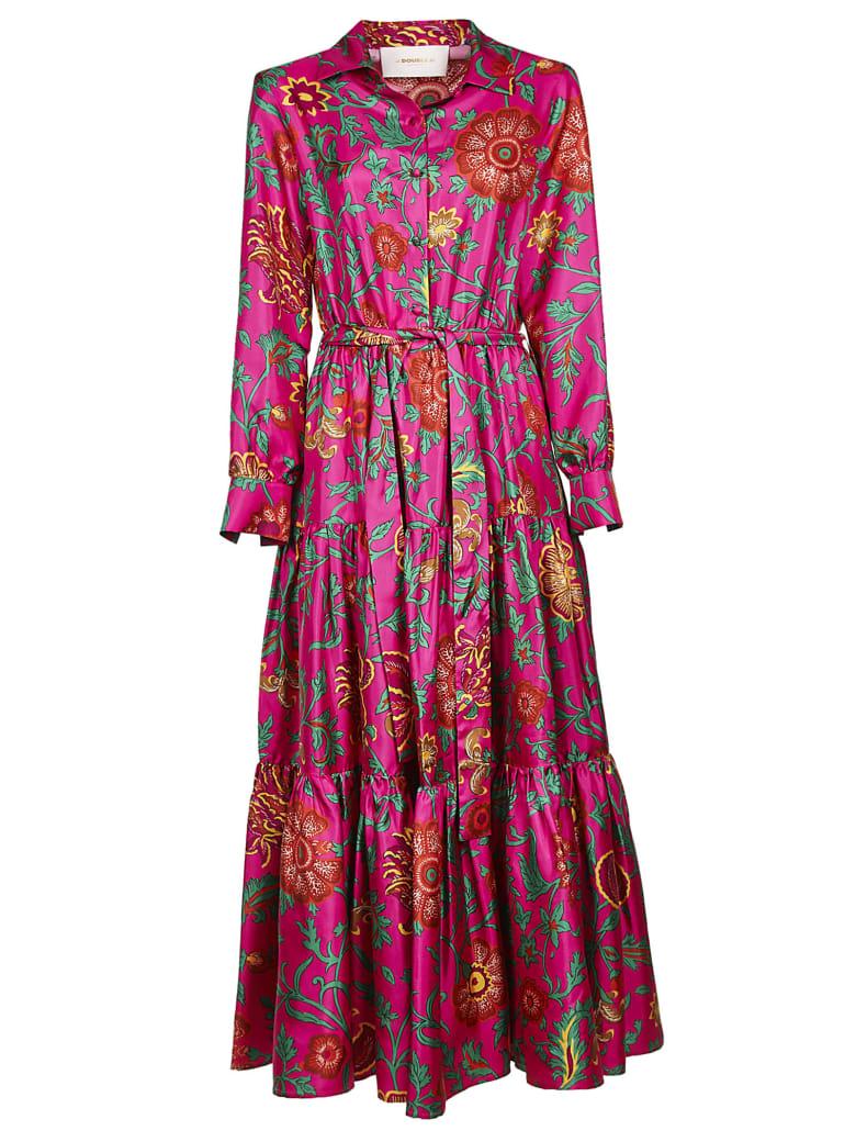 La DoubleJ Printed Belted Shirt Dress - Dragon Flower Fuxia