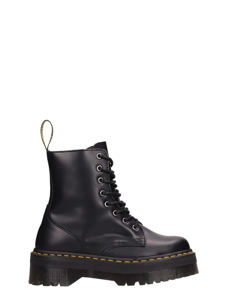 Dr. Martens Jadon Combat Boots In Black Leather - black