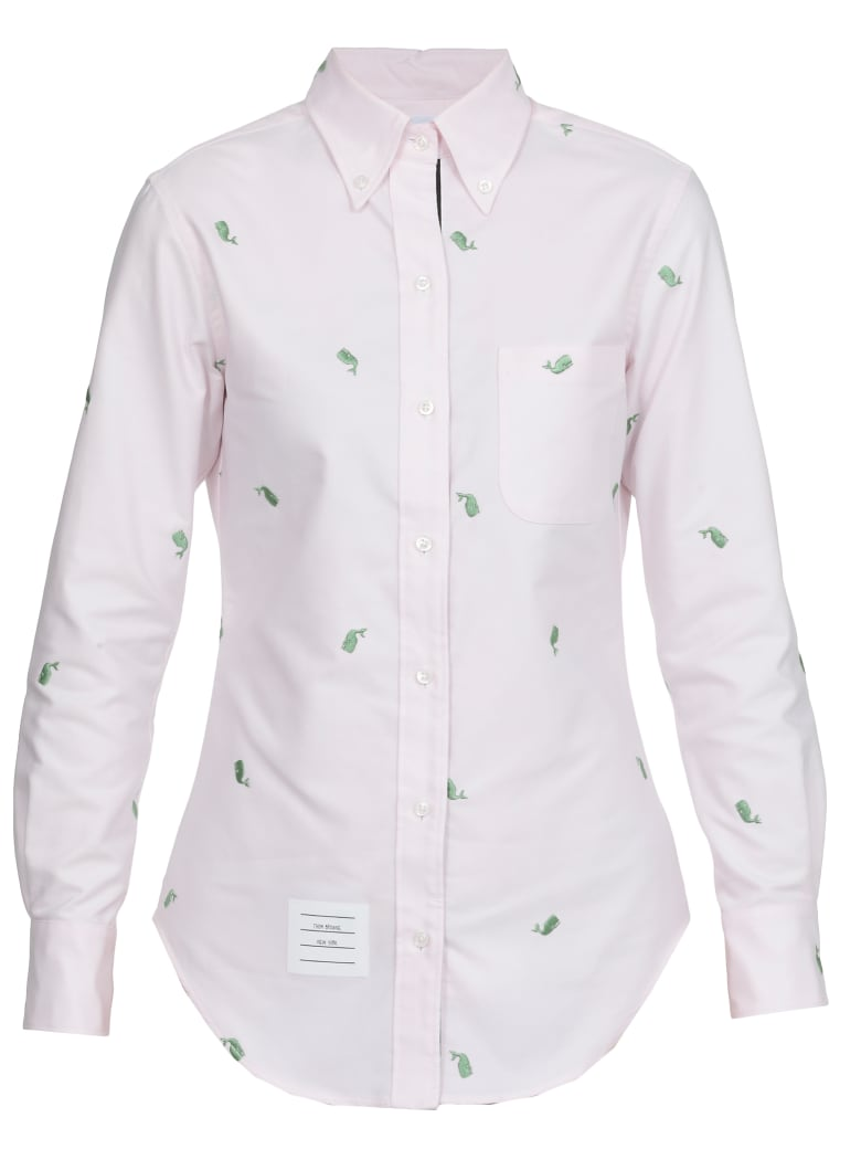 Thom Browne Shirt Green Whale Embroidery - LT PINK