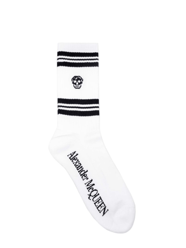 Alexander McQueen Socks Stripe Skull Sport - Black
