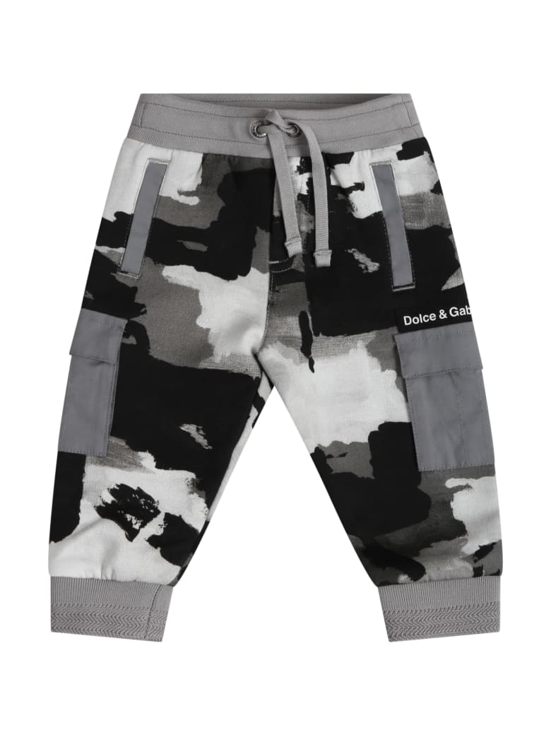 Dolce & Gabbana Multicolor Sweatpants For Babyboy With Logo - NEUTRALS/BLACK