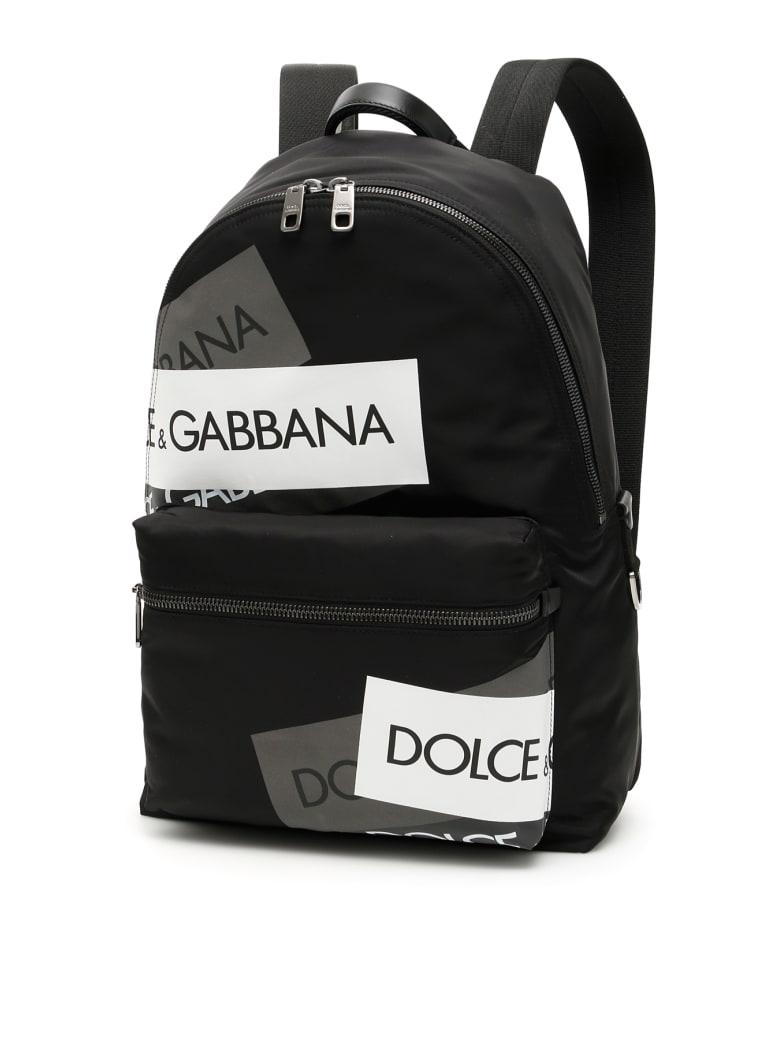 Dolce & Gabbana Nylon Logo Tape Backpack - NERO MULT REFLECTIVE (Black)
