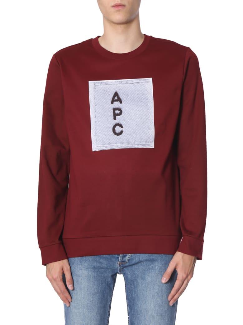 A.P.C. Sweatshirt With Logo Print - BORDEAUX