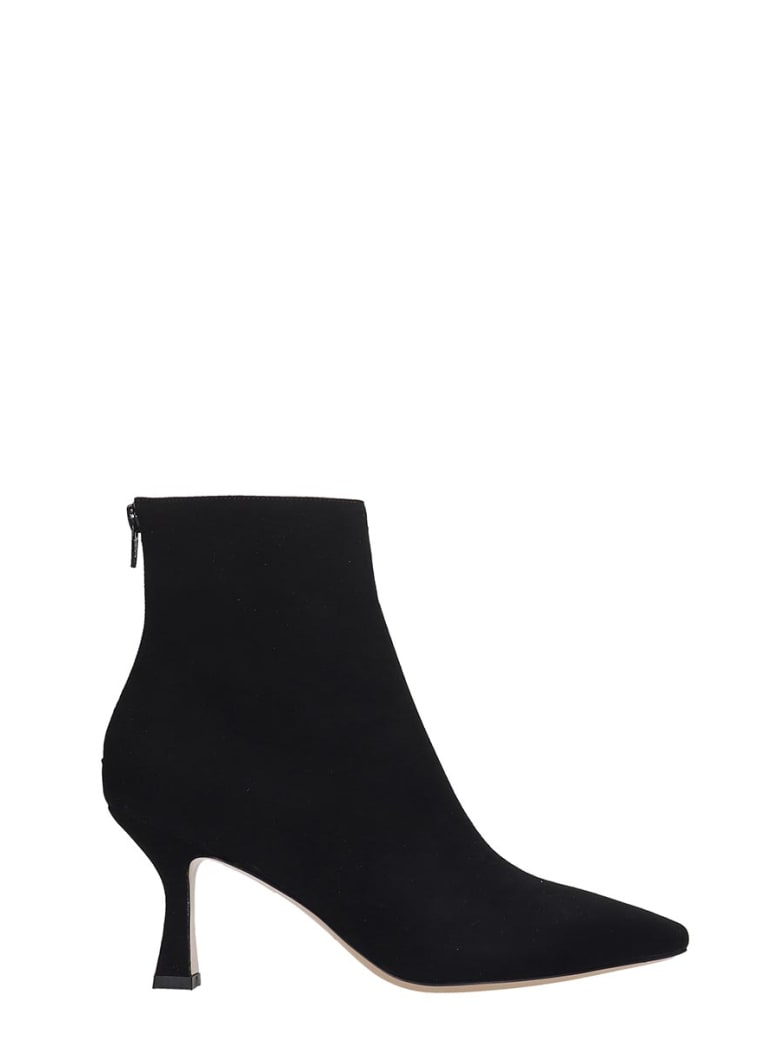 Fabio Rusconi High Heels Ankle Boots In Black Suede And Leather - black