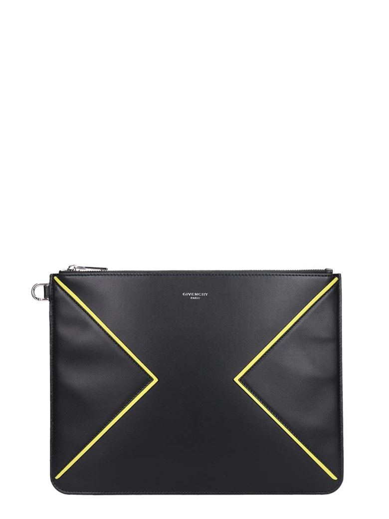 Givenchy Clutch In Black Leather - Black/yellow