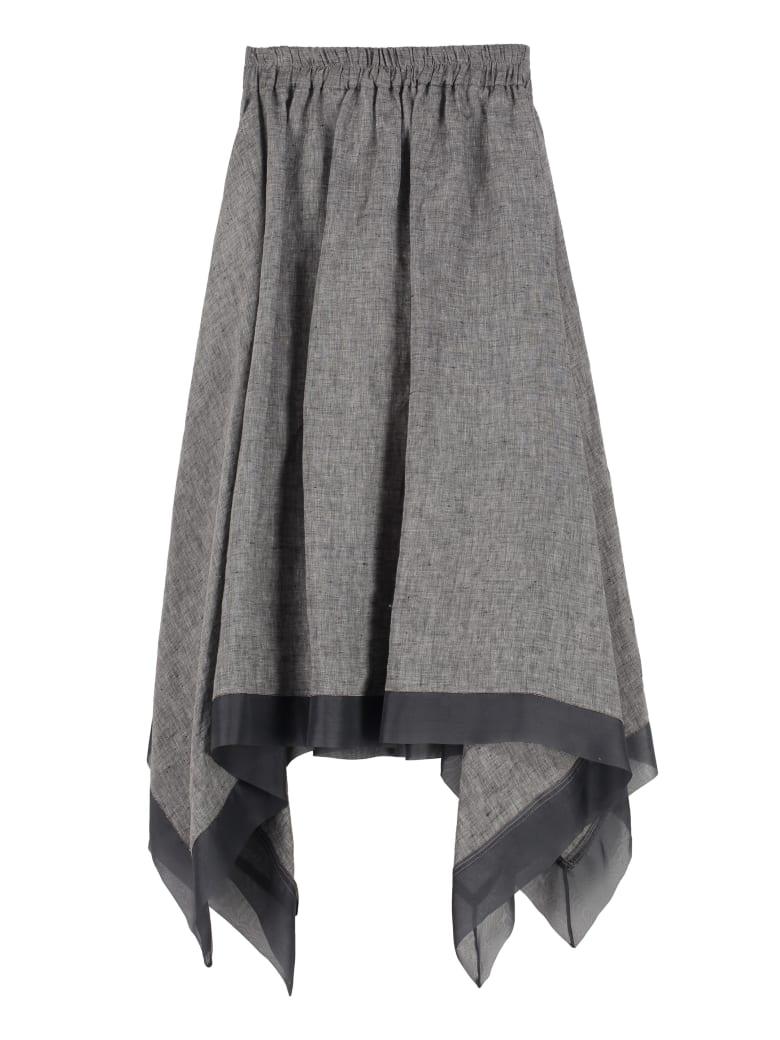 Fabiana Filippi Asymmetrical Linen Skirt - grey