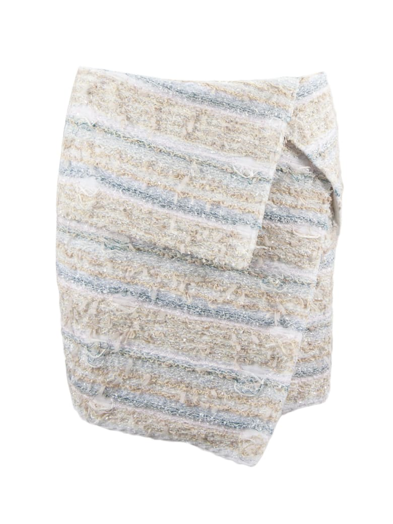 Balmain Beige And Light Blue Cotton Blend Skirt - Multicolor