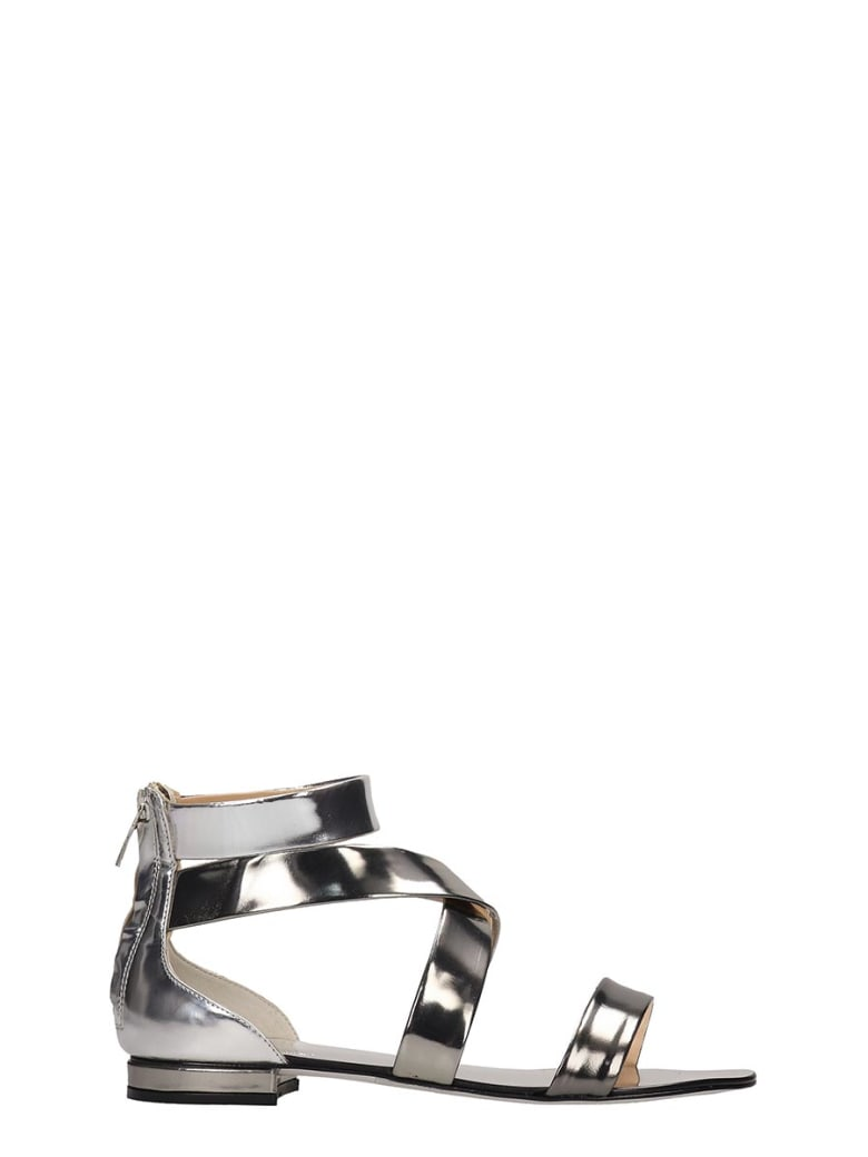 The Seller Silver Laminated Leather Flats Sandals - silver