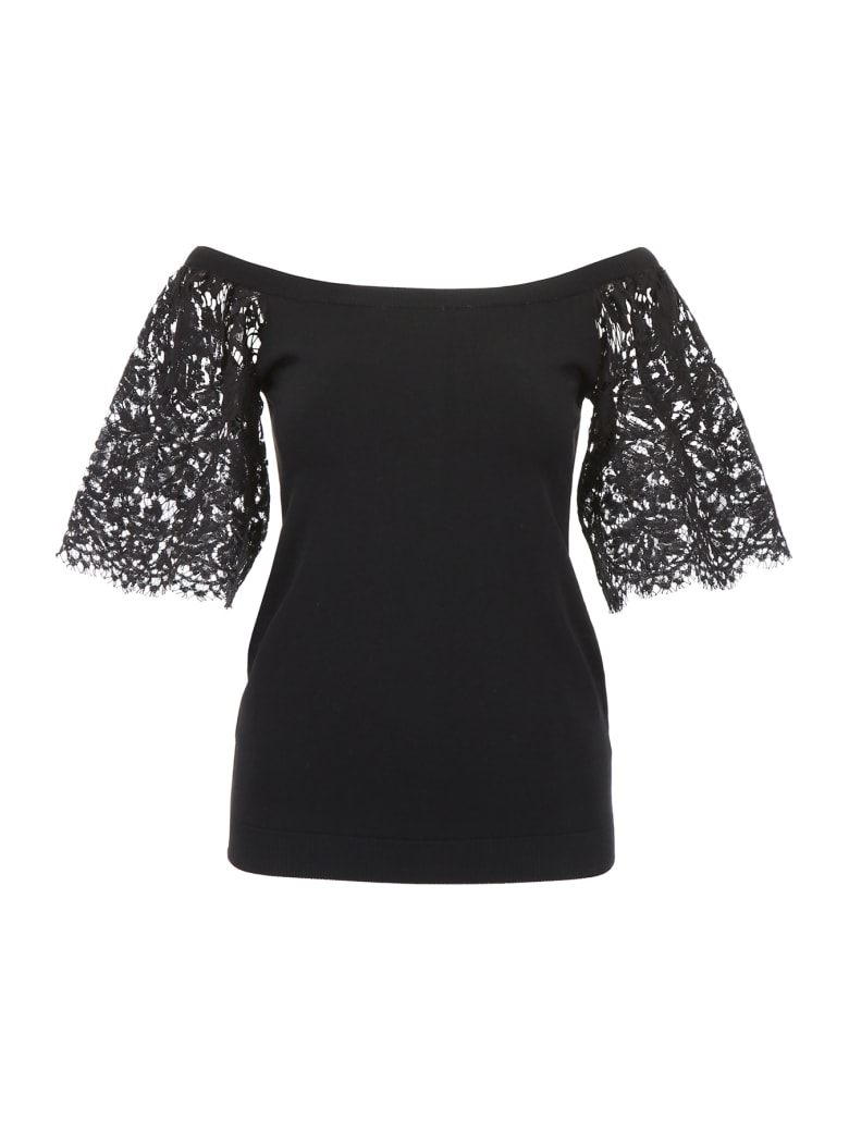 Valentino Knit Top With Lace Sleeves - NERO (Black)