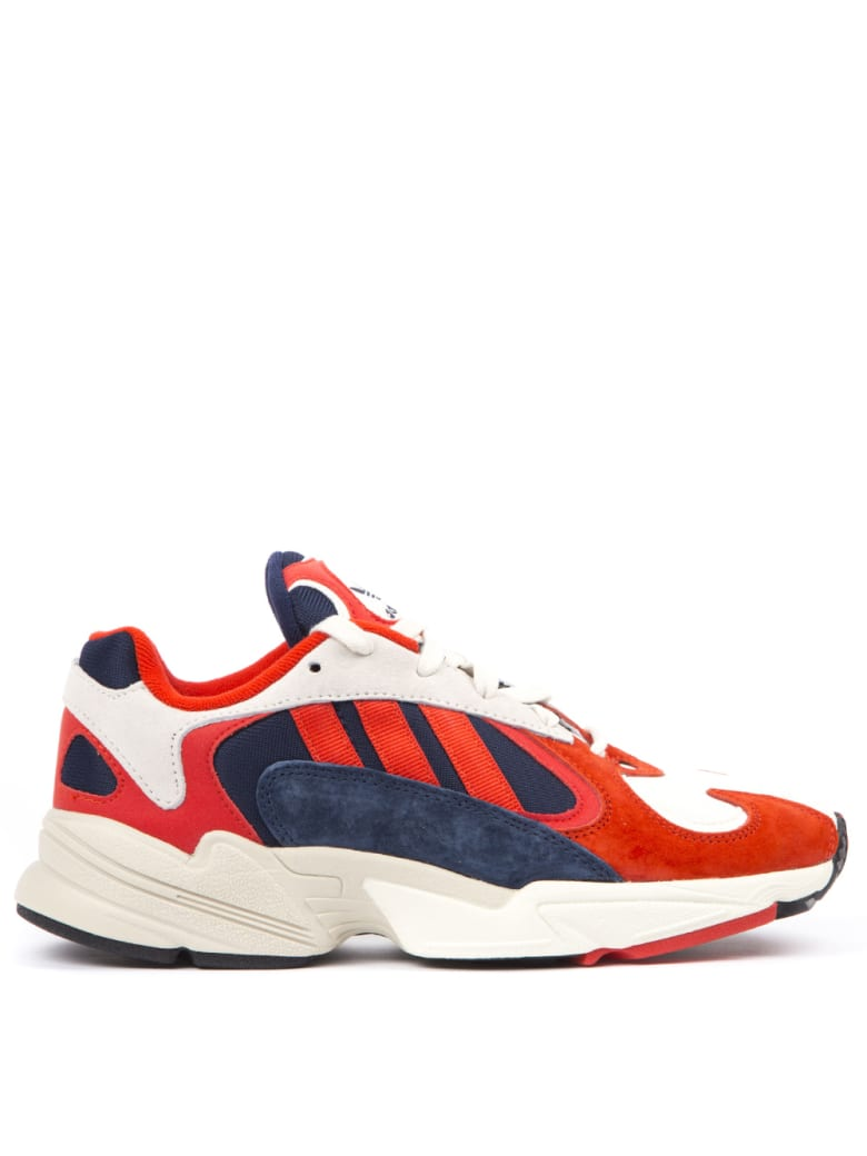 Adidas Originals White & Red Yung 1 Sneakers In Mesh & Nubuck