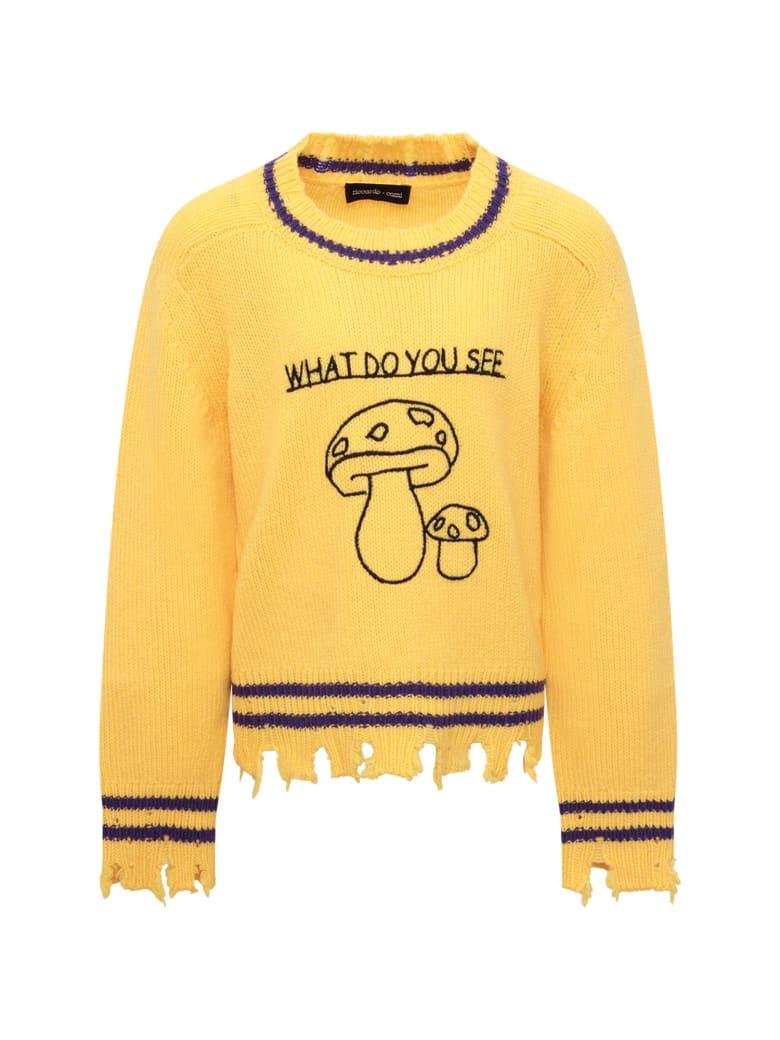 Riccardo Comi Yellow Sweater With Black Mushrooms - Yellow