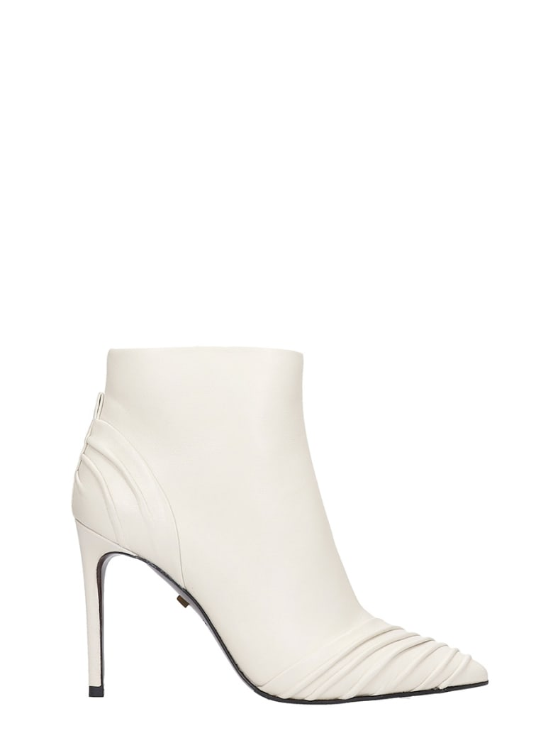 Grey Mer High Heels Ankle Boots In Beige Leather - beige